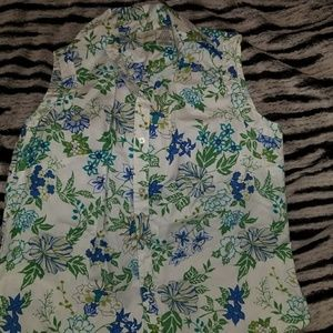 Womens blue and green floral top